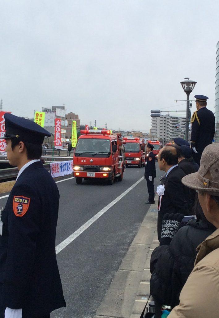 ↑道泉分団の消防車がやってきました